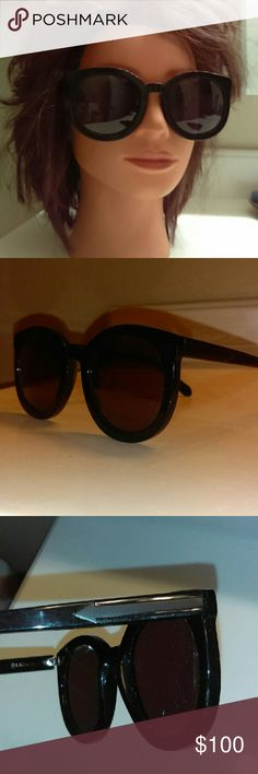 Karen Walker super duper strength sunglasses Karen Walker super duper strength black frame sunglasses in great condition. The model is a little rubbed off on the inside but other than that the sunglasses are in great condition. They do not come with the Karen Walker case but I will include a hard case that is unbranded. Karen Walker Accessories Sunglasses