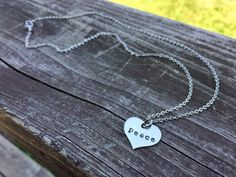 Peace Necklace  Hand Stamped Jewelry  by PeerlessTreasures on Etsy