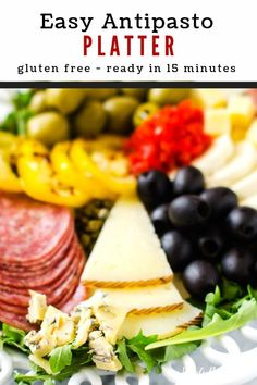 This easy Antipasto Platter is easily my favorite easy appetizer recipe that I've ever made. It is so simple to throw together. Make this one for your next family dinner, and you will have a glow of satisfaction that comes from serving something that everyone loves. #wendypolisi #healthy #glutenfree #appetizer Gluten Free Appetizers, Appetizers For A Crowd, Healthy Gluten Free Recipes, Easy Appetizer Recipes, Healthy Appetizers, Healthy Snacks, Snack Recipes, Dinner Recipes, Party Appetizers