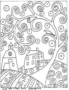 RUG-HOOK-PAPER-PATTERN-Swirl-Tree-House-Barn-FOLK-ART-ABSTRACT-by-Karla-G