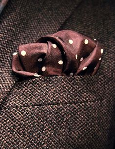 This polka dot in different colours is a great stock handkerchief. Navy blue with white dots would be a nice one too.