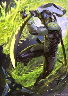 Genji by w15nu91, Overwatch Fan Art, Digital Painting, Inspirational Art