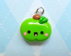 Kawaii Charm Apple Polymer Clay Novelty Jewelry Cute Fruit via Etsy