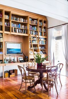 17 Best Home Library Decor Ideas - futurian Home Library Decor, Home Library Design, Home Libraries, Home Decor, Bentwood Chairs, Queenslander, Australian Homes, Dining Room Furniture, Dining Rooms