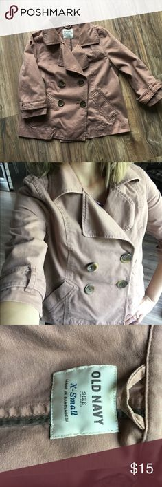 Old navy 3/4 sleeves taupe jacket Shorter jacket (length is about at the top of my jeans when wearing). Color is taupe. Four buttons on the front. Really cute jacket! Can be worn with any outfit. No rips or stains. Old Navy Jackets & Coats