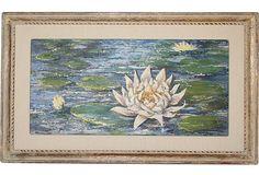 Water Lily Painting on OneKingsLane.com. Original vintage art.  From Anna Hackathorn Interior Design.