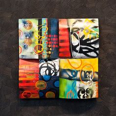 janet o'neal; encaustic on wood multi media, collage