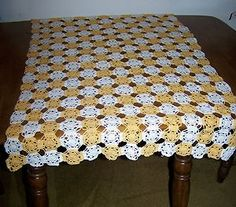 Hand Crocheted Table Cloth or Runner 30 x 64 - Yellow & White-  Vintage