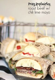 Roast Beef Party Sandwiches with Chili Lime Mayo - lose the bun, wrap in lettuce or keto friendly wrap Appetizers For A Crowd, Healthy Appetizers, Steamed Pork Buns, Party Sandwiches, Easy Party Food, Bread Machine Recipes, Chili Lime, Pasta, Picnic Lunches