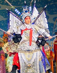 """Tell me THIS doesn't look like a menacing thunder cloud! Perfect for play costumes. Chinese opera a """"toukui"""" or opera headdress: crown, helmet, hat and scarf"""