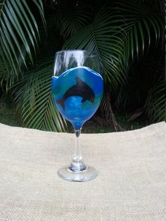 Dolphin Wine Glass, Hand-painted Wine Glass, Porpoise Wine Glass,Beach Wine Glass, Ocean Wine Glass by BeachDogCreations on Etsy