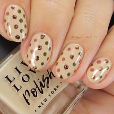 """Fall polka dots over """"Chai Latte"""" by Other colors used: """"Macchiato"""", """"Moss"""", """"Roots"""", and """"Brick"""". Loving this combo and… Fall Nail Art, Autumn Nails, Chai, Nail Art Designs, Latte, Roots, Polka Dots, Nail Polish, Brick"""