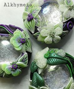 (the lacy pale green transparent flower petals are gorgeous!) >>> Gocce in Verde e Viola | by Alkhymeia