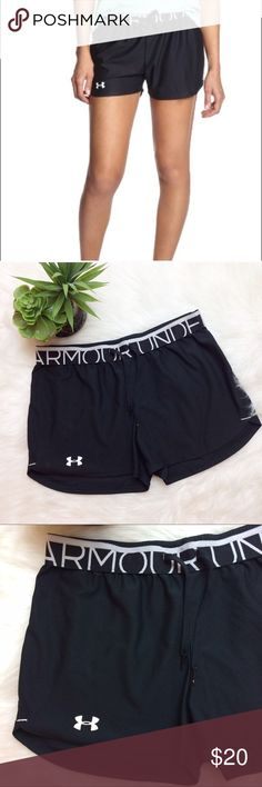 "Under Armour Black Drawstring Shorts Under Armour black athletic shorts. Flat elastic waist with drawstring. 100% polyester. These are a stretchy fabric, not Nylon. Size small. Waist is 14.5"" lying flat. Inseam is 2 3/4"". Excellent condition. Under Armour Shorts"