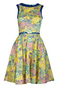 Yellow Floral Print Flared Dress i like this Dresses GtoGIndia