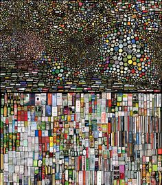"""Hong Hao is a Chinese artist who likes organizing and grouping things. in this photographic work """"my things"""" thousands of scanned images are arranged together on a massive scale. When placed on a black background they become micro universes. Chinese Contemporary Art, Contemporary Paintings, Chinese Art, Modern Art, Found Object Art, Aboriginal Art, Art Lessons, Cool Art, Art Photography"""