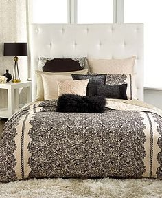Black, white, cream, lace, scroll, fancy, romantic and sexy bedroom time