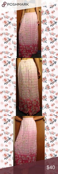 Beautiful Vintage Skirt Gorgeous Cherry Blossom print vintage skirt. Tag says a size 8, but vintage condition must be taken into consideration as vintage piece usually are sized larger. I personally can wear as a low waist skirt, but a true 6/8 could wear this as a high waisted skirt which would look similar to the last photo. Zip and button enclosure. Vintage Skirts Maxi