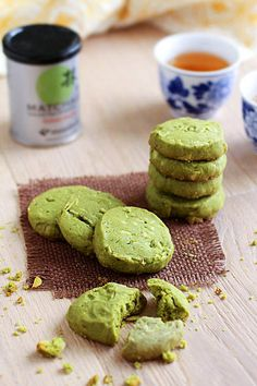 Matcha Green Tea Cookies—would be easy to swap out the butter for Earth Balance