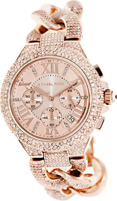Michael Kors Camile Rose Gold Rose Gold Dial Stainless Steel Ladies Watch MK3196. On Amazon - http://smal.in/MichaleKors