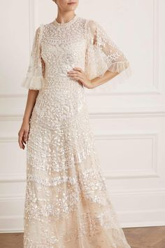 Sequin Formal Dress, Sequin Gown, Embellished Dress, Boho Chic Wedding Dress, Wedding Dress Accessories, Needle And Thread Wedding Dresses, Lace Drawing, Gowns With Sleeves, Long Bridesmaid Dresses