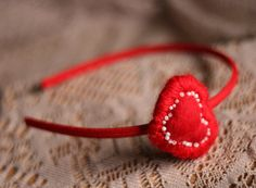 Sweetheart Valentine's Day Headband in Red and White by YellowElm on Etsy, use coupon code SEATTLE2013 for an additional 30% off