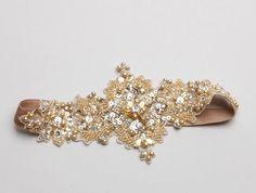 Gold lace wedding garter Bridal garter crystal garter by woomeepyo, $40.00