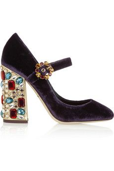 oooohhhh! I am loving these shoes!! Must Have Now!  Dolce & Gabbana Vally crystal-embellished velvet pumps | NET-A-PORTER