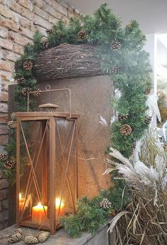 Ideen Außendekoration für Weihnachten rustikale laterne