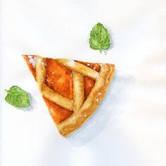 Slice of Pumpkin Tart  ORIGINAL Painting Desset por ForestSpiritArt