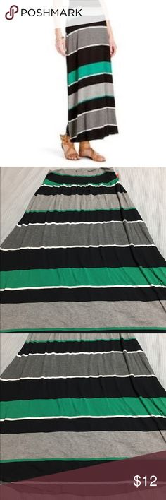 Merona Striped Maxi Skirt Merona Striped maxi skirt. Color dark grey, grey, black, white and green. Brand new with tag attached but half the tag is ripped. Size large. 95% rayon and 5% spandex. Merona Skirts Maxi