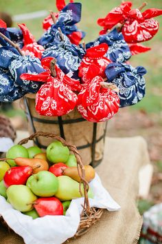 Pirate Party- party favors: wrap pirate theme small gifts in a bandana tied to a heavy stick. collect them at any park!