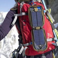 Powertraveller solarmonkey adventurer. Can recharge the GPS via USB.
