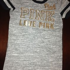 V.S. Pink Nation Dorm shirt Blink Blinking Gold Letters, Gray with Black lining around the neckline & Sleeve Line PINK Victoria's Secret Tops Tees - Short Sleeve