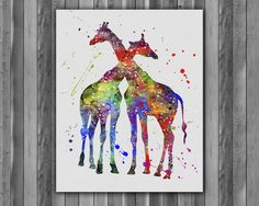 Wall Prints – Giraffes love animals Watercolor Poster art Print – a unique product by Irene913 on DaWanda