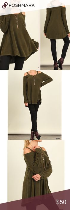 "ARRIVAL Off shoulder olive knit long sleeve top Very trendy off shoulder top for the upcoming season. Additional colors available are grey and oreo/black. Material: 60% cotton, 40% polyester  Measurements:  Small: Armpit to Armpit: 19.5"" Length:30""  Medium: Armpit to Armpit: 20.5"" Length: 30.5""  Large: Armpit to Armpit: 21.5"" Length: 30.5""  Always follow washing and care instructions on the label. Pink Peplum Boutique Tops"