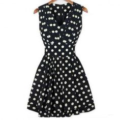 Fashion Plunging Neck Polka Dot Print Beam Waist Sleeveless Pleated Dress For WomenVintage Dresses | RoseGal.com