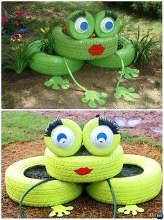 DIY Tire Frog Planter 20 Colorful Garden Art DIY Decorating Ideas Source by femare Diy Garden Projects, Garden Crafts, Diy Garden Decor, Garden Ideas, Art Projects, Recycled Garden Art, Garden Whimsy, Project Ideas, Yard Art