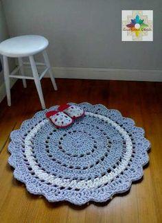 Alfombra Tejidas Al Crochet Con Totora (tiras De Tela) - $ 180,00