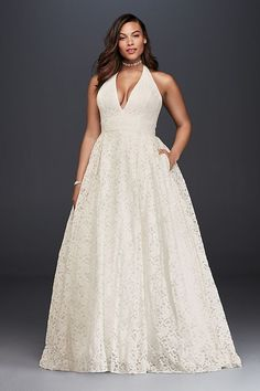 http://www.davidsbridal.com/Product_plunging-lace-halter-plus-size-wedding-dress-9wg3844_plus-size-wedding-dresses