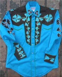 Mens Vintage Western Shirt Collection: Rockmount Fancy 2 Tone Blue