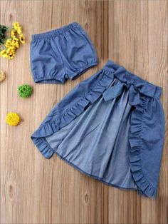 Verypoppa Baby Girls Outfit 3 Pcs Off Shoulder Lace Shirt Blouse Top Denim Shorts Skirt Set, Baby Girl Fashion, Kids Fashion, Little Girl Dresses, Girls Dresses, Bow Skirt, Skirt Set, Hi Low Skirts, Baby Dress Design, Lace Tops