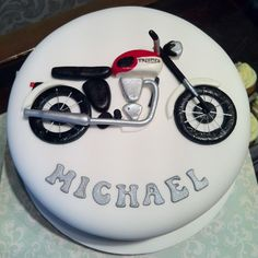 23 Exclusive Image of Motorcycle Birthday Cakes . Motorcycle Birthday Cakes Triumph Motorbike Cake Julianna Chakmakian We Need To Do This Motorcycle Birthday Cakes, 50th Birthday Cakes For Men, Motorcycle Cake, Homemade Birthday Cakes, Themed Birthday Cakes, Birthday Cake Toppers, Happy Birthday, Cake Design For Men, Cool Cake Designs