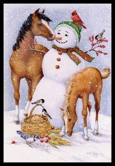 037-GC Kathy Goff BIRD FOAL HORSE SNOWMAN Unused Christmas Greeting Card | eBay