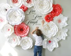 How to hang large paper flowers for paper flower backdrops and home giant paper flowers wall paper flower wall wedding wall wedding arch paper flower backdrop mightylinksfo