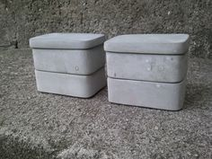 pair of concrete stackable spice jar set with lid rectangular salt spices or other use. $44.95, via Etsy.