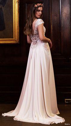 berta bridal fall 2016 cap sleeves vneck illusion jewel aline wedding dress (16 115) bv slit skirt train