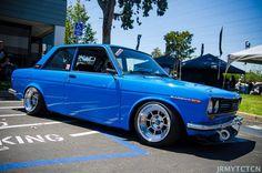2 door Datsun 510 wearing baby blue