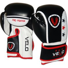 VELO Rex Leather Boxing Gloves Punch Bag Fight MMA Muay Thai Grappling Pads BWH