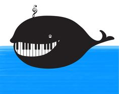 Whale water proof piano: Art Print by Bananabread Society6. Fun note card idea for piano students, bulletin board, recital program cover!